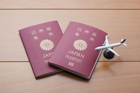 furlough: Passport and airplane Stock Photo