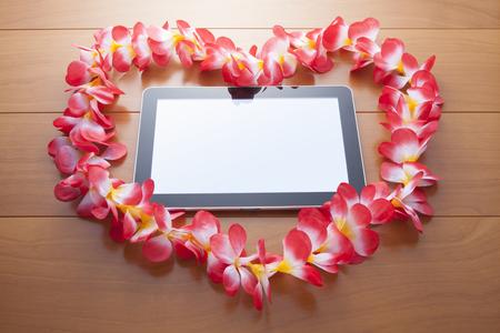 heartshaped: Heart-shaped wreath of frangipani