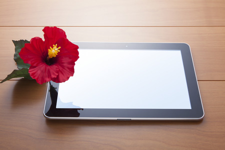 foreign country: Tablet PC and hibiscus