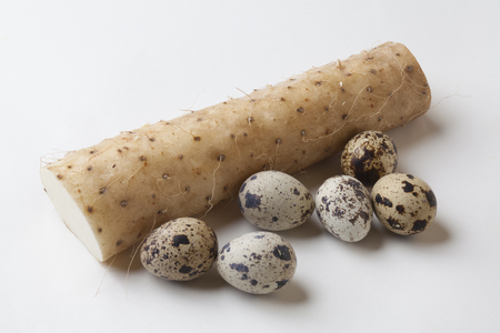 japanese quail: Quail eggs and potatoes