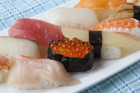 stuff fish: Handrolled sushi Stock Photo