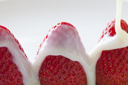 condensed: Condensed milk Strawberry Stock Photo
