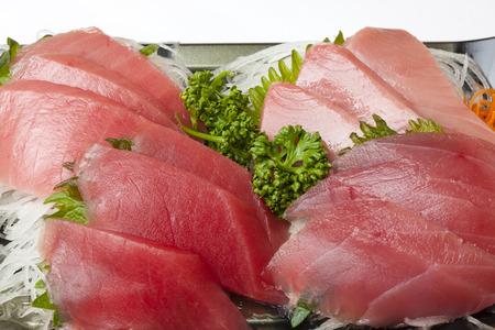 Sashimi of medium Toro and bluefin tuna