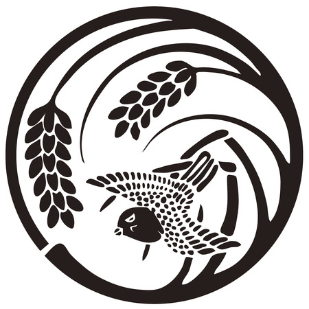 The sparrow in a round of a single rice Stock Photo