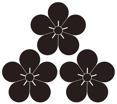prime: Three prime plum blossoms