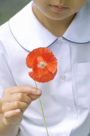 pluck: Girl with flower Stock Photo