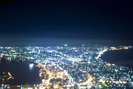 out of focus: View night view out focus from Hakodate