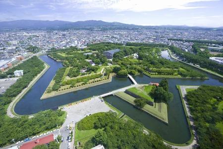 Goryokaku park with views from Goryokaku Tower observatory