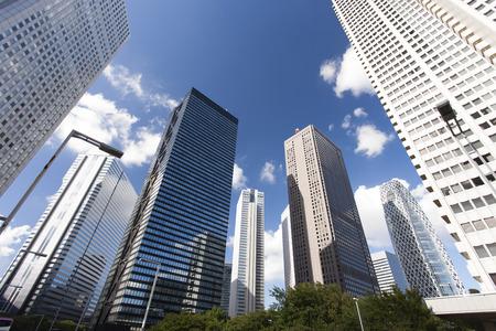 blue summer sky: High-rise skyscrapers of Shinjuku