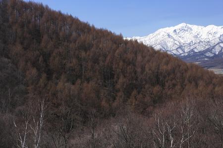 lingering: Of snow mount ashibetsu Stock Photo