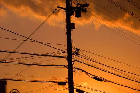 utility pole: Utility pole sunset
