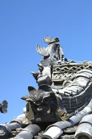 buddhist temple roof: Roof tiles