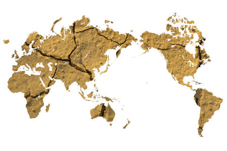 desertification: World map and cracking of the ground Stock Photo