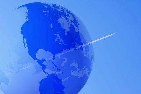 contrail: Globe and contrail Stock Photo