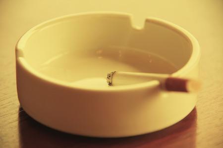 non  smoking: Ashtray and cigarette