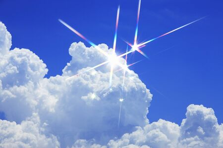 scintillation: Blue sky and white clouds Stock Photo