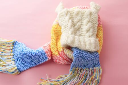 damper: Scarf and knit hat Stock Photo