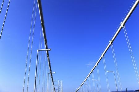 japan sky: AkashiKaikyo Bridge Stock Photo