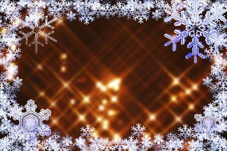 christmas snow: Snowflake frame Stock Photo