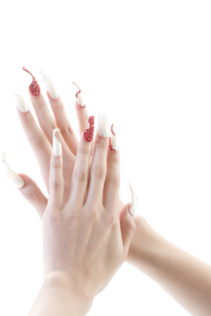 nailcare: Hands of women wearing nail