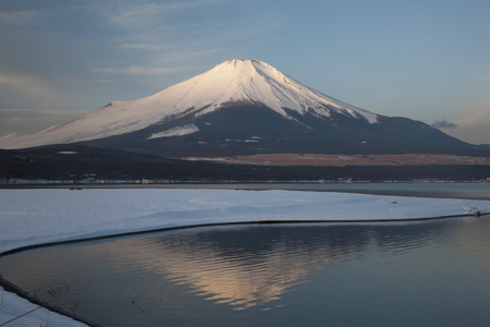 Mount Fuji from Lake Yamanaka in morning sun photo