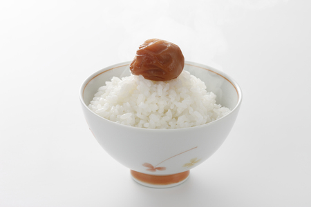 vapour: Rice and umeboshi Stock Photo