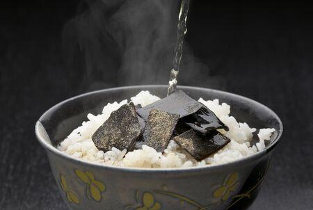 緑茶で塩昆布ご飯 写真素材