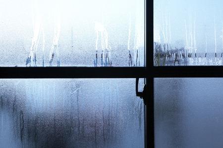 condensation: Glass Windows have condensation Stock Photo