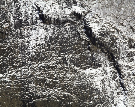 accretion: Rock face of snow accretion Stock Photo