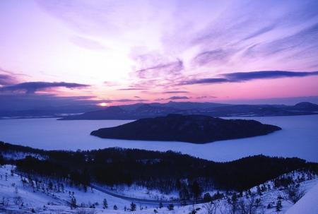 winter scenery: Kussharo winter scenery Stock Photo