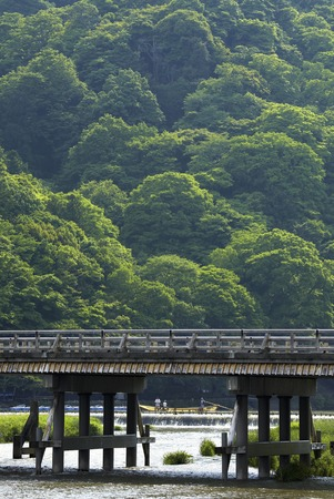 boatman: It passed Kyoto Tsukihashi Stock Photo
