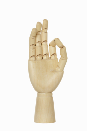 hand out: Wooden hand out OK Stock Photo