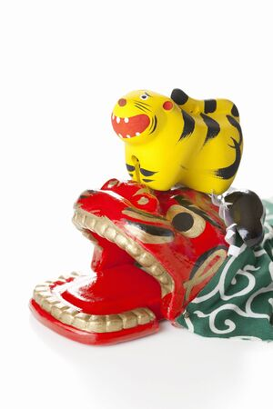 lion figurines: New years decorations Stock Photo