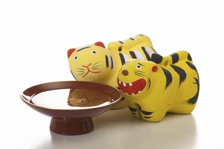 figurines: Tiger figurines Stock Photo