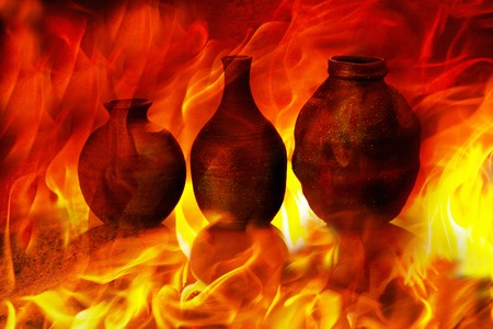 Pottery image of the flame Stockfoto