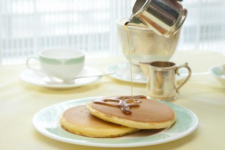 snack food: Breakfast of pancakes