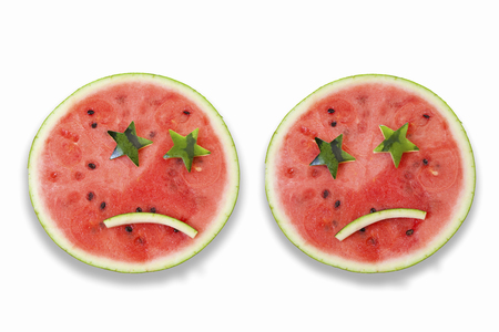 diecut: Watermelon face Stock Photo