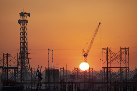 Construction sites and sunset