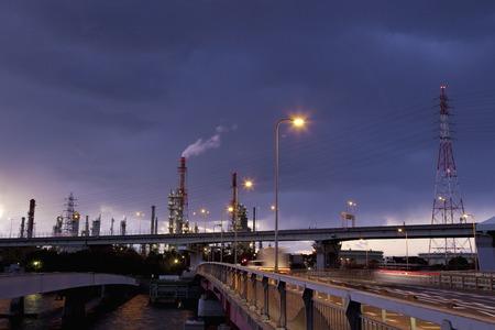 Sunset industrial area Stock Photo