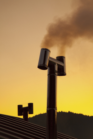 country life: Country life in the chimney and smoke Stock Photo