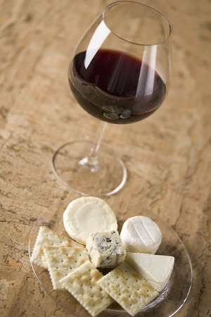 cheese platter: Red wine and cheese platter Stock Photo