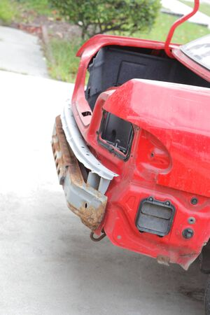 car trunk: Red car trunk