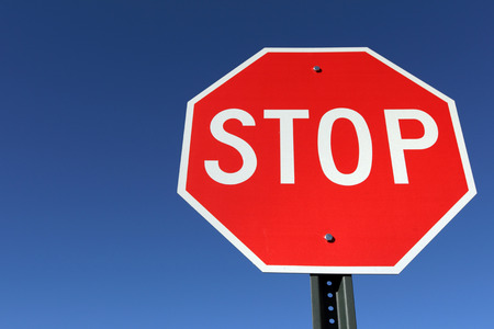 red sign: Stop sign Stock Photo