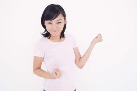 fist pump: Female portrait Stock Photo