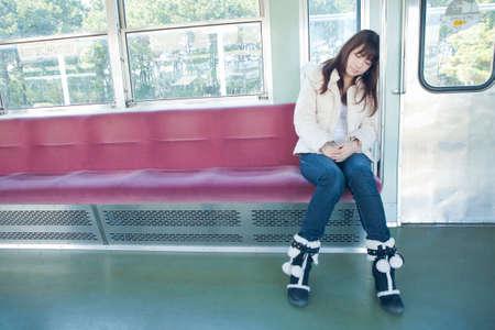 doze: Women who doze by train Stock Photo