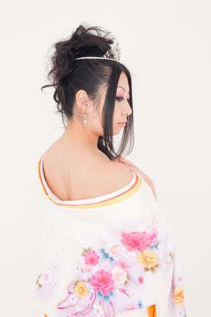 rear view: Rear View of woman wearing a kimono