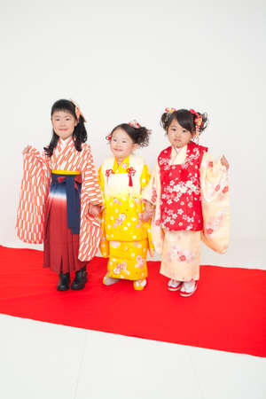 three girls: Three girls wearing a kimono