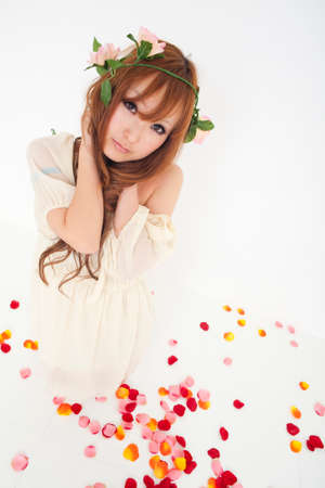 one piece dress: Woman with flowers