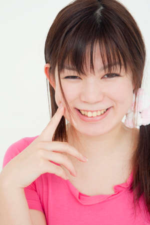 one piece dress: Smiling woman Stock Photo