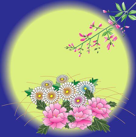 harvest moon: Mid-Autumn harvest moon and Hagi, peony, chrysanthemum